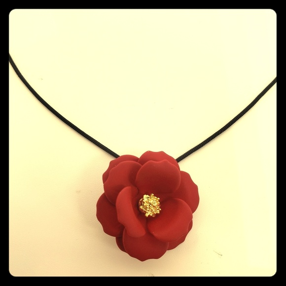 Frank Ronay Jewelry - Red Rose Flower Necklace